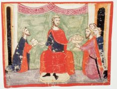 King Peter III of Aragon (r. 1276-1285) with ambassadors from Michael VIII