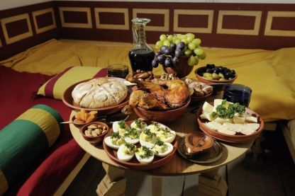 Complete Roman Cena meal of Gustatio, Prima Mensa, and Secunda Mensa