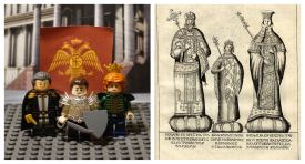 Constantine with his parents in Lego (left) and historical illustration (right)