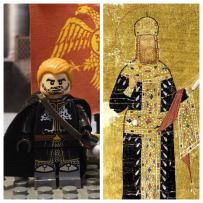 Lego Andronikos II Palaiologos (left), real Andronikos II (right)