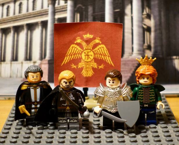 Palaiologos family in Lego, Michael VIII with his wife Theodora and sons Andronikos and Constantine