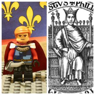 Lego Philippe Courtenay (left) and real life Latin Emperor Philip I (right)
