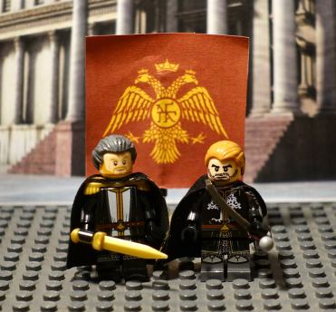 Michael VIII Palaiologos (left) with his son and heir Andronikos II (right) in Lego