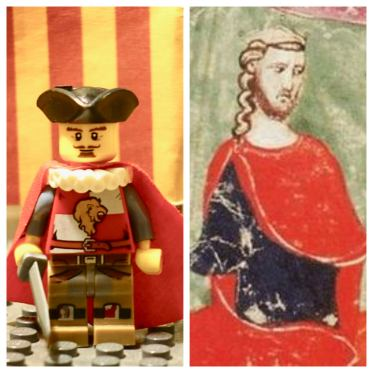 Peter III of Aragon Lego figure (left) and real life Peter III (right)