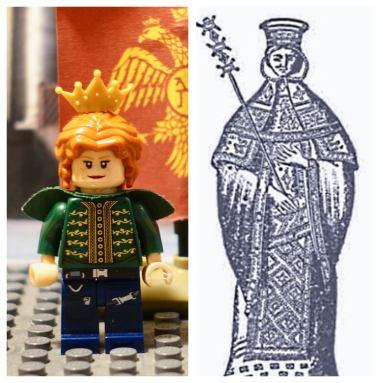 Lego Empress Theodora (left) and real life Theodora (right)