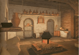 Roman kitchen with a hearth (focus)