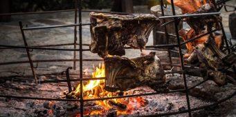 Traditional Byzantine Greek style grilling