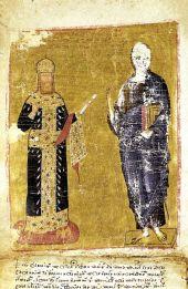 Manuscript with Andronikos II (left)