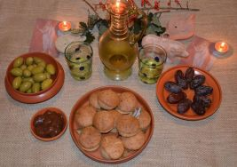Sample Gustatio meals including dates and olives