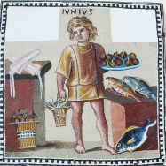 Mosaic of a Roman kitchen slave with food