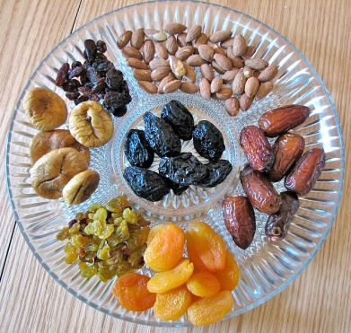 Platter of assorted Roman dried fruits from the east