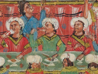 Byzantine nobles at a feast