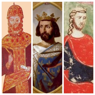 Rulers of Europe in the 1282 Sicilian Vespers conflict, left to right: Michael VIII of Byzantium, Charles I of Sicily, Peter III of Aragon