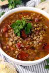 Modern Greek lentil stew