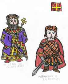 Concept art of Michael VIII (left) and Andronikos II (right)