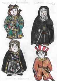 Top Row: Concept art of Empress Theodora (left) and Georgios Doukas (right), bottom row: concept art of Irene Palaiologina (left) and Constantine Palaiologos (right)