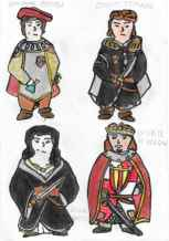 Top row: concept art of Dr. Giovanni (left) and Count Tomaso (right), bottom row: concept art of Giulia (left) and Peter III of Aragon (right)