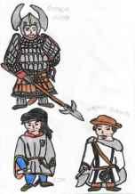 Concept art of Sviatoslav (top), Ezio (bottom left), and Pachomios (bottom right)