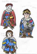 Concept art of Philippe (top left), Jean Clovis (bottom left), and Charles of Anjou (right)