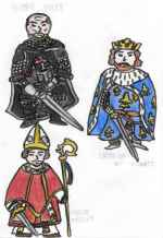 Concept art of Hugh Sully (top left), Enrico Salviati (bottom left), and King Louis IX (right)