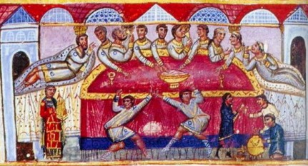 Byzantine feasting the Roman style on couches