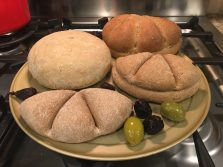 Varieties of Roman bread with olives