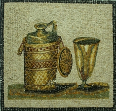 Mosaic of wine jug and cup