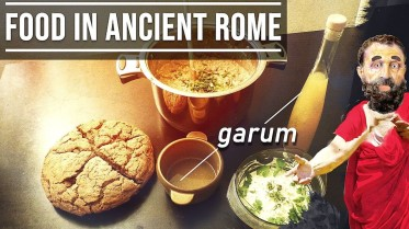 Basic Roman meal of bread, Puls, cheese dip, and Garum
