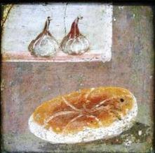 Fresco of flatbread and garlic