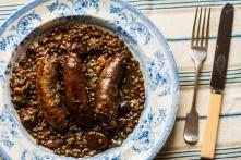 Roman lentil stew with sausages
