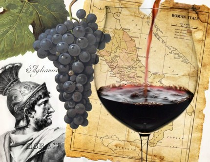 Roman wine of Italy with grapes