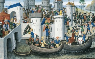 Medieval depiction of the 4th Crusade's attack on Constantinople, 1203