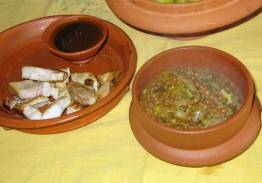 Meal in Roman Britain including lentil stew