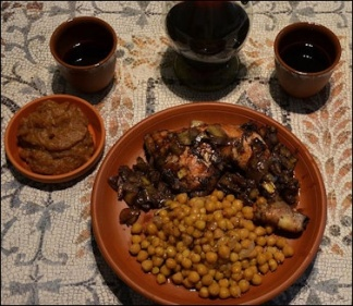 Roman meal on clay dishes and cups