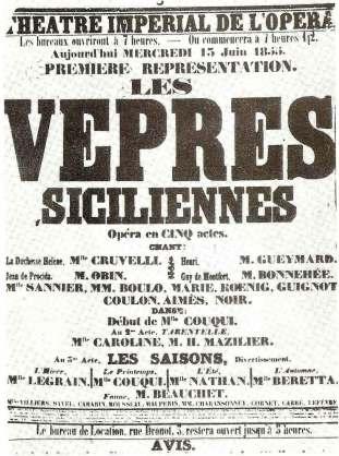 Les Vepres Siciliennes (Sicilian Vespers) opera poster