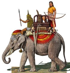 Champa Kingdom soldiers and war elephant