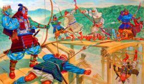 Samurai of the Minamoto and Taira clans clash in the Genpei War, 1180-1185