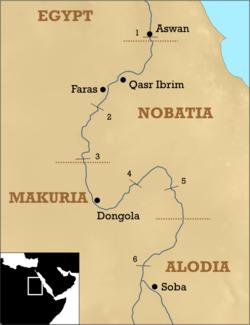Kingdoms of Nobatia, Makuria, and Alodia in 6th century Africa