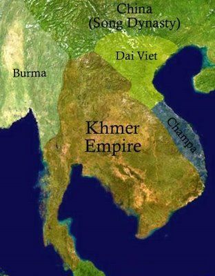 Map of the Dai Viet Kingdom, Champa Kingdom, Khemer Empire, and Song Dynasty China in the 11th century