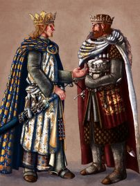 King Philippe II of France (left) and Richard I of England (right)