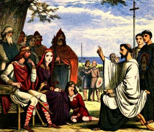 Bishop St. Augustine converts the Saxon people of Britain to Christianity, late 6th century