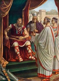 Alaric I, King of the Visigoths (r. 395-410) and his brother-in-law Athaulf (right)