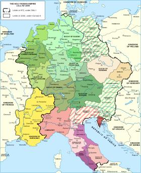Map of 11th century France, the Holy Roman Empire, and Italy