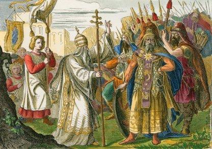 Pope Leo I stops Attila from entering Italy, 452