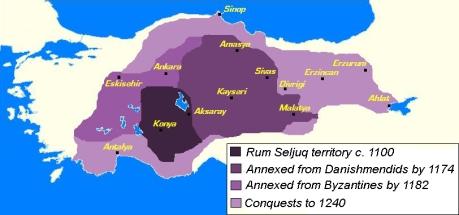 Seljuk Sultanate of Rum (purple), 12th century