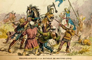 French defeat the Holy Roman Empire and English at the Battle of Bouvines, 1214