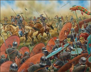 Western Romans and Visigoths against the Huns at the Battle of the Catalaunian Plains, 451