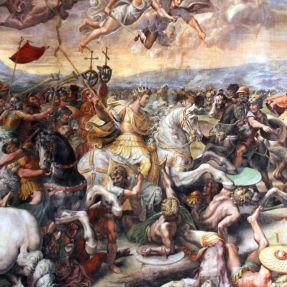 Constantine I wins the Battle of the Milvian Bridge, 312