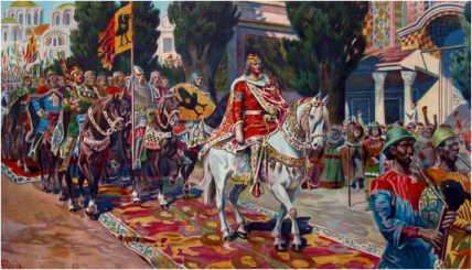 King Sigurd of Norway rides through Constantinople in his crusade, 1107