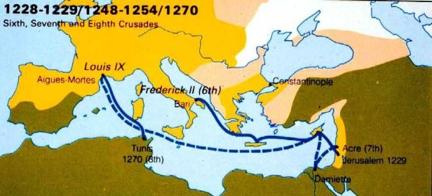 Map of the 6th, 7th, and 8th Crusades